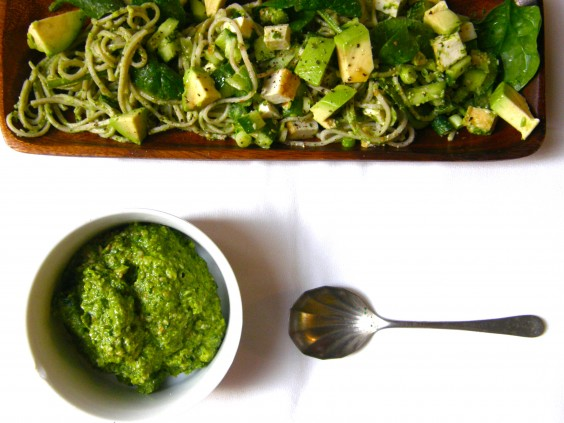 Soba Salad with Miso, Spinach & Green Olive Pesto
