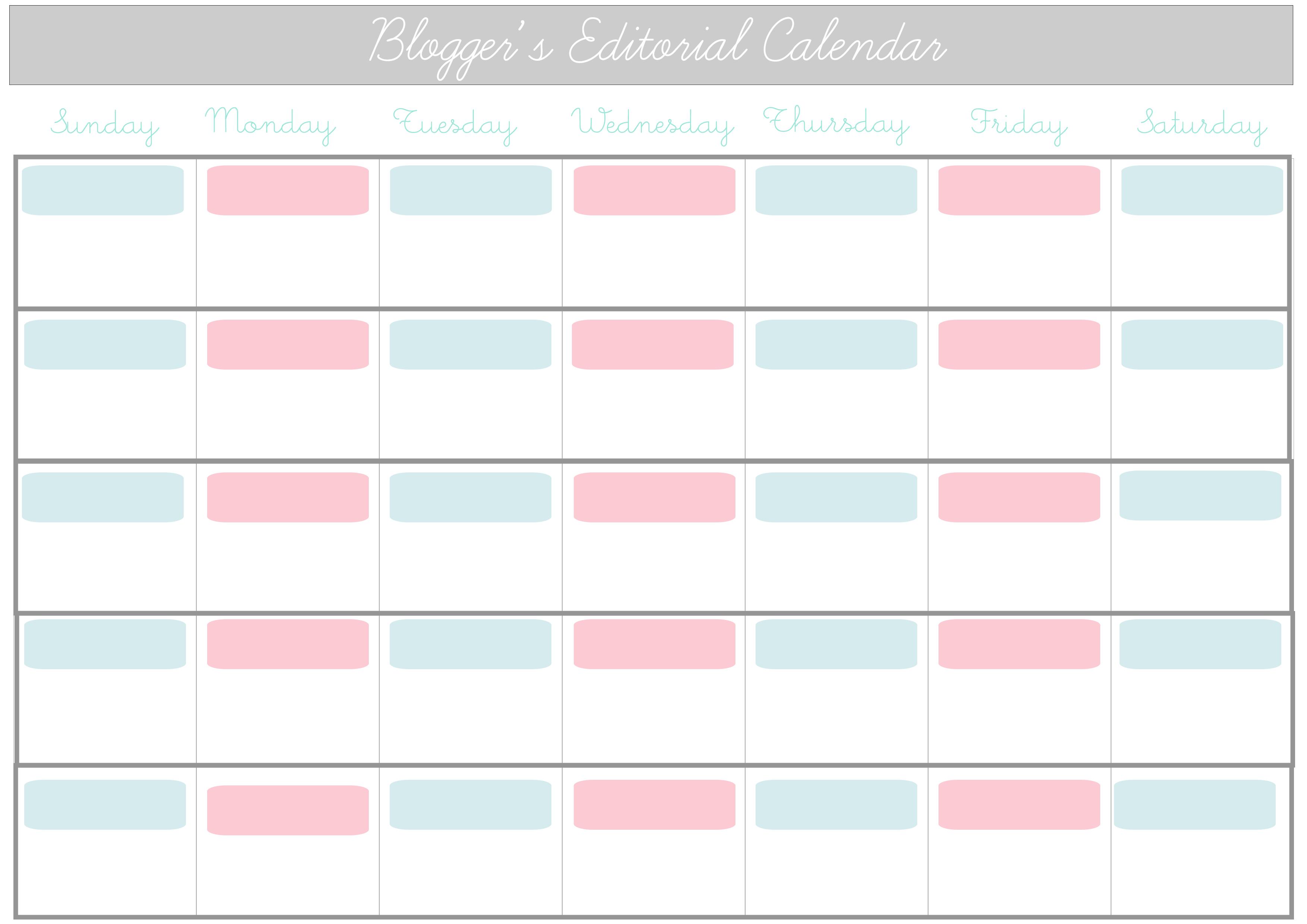 Printable Editorial Calendar