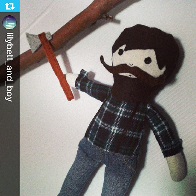 How cute is this lumberjack pal?! Thanks for helping with #softiesformirabel @lilybett_and_boy : He's so ace!!