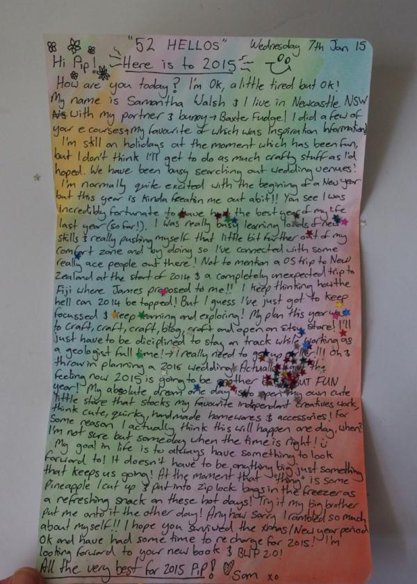 52 hellos sams letter
