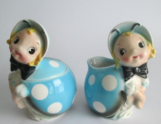 Lefton Ladybug Cream and Sugar Rare Pixieware Napco