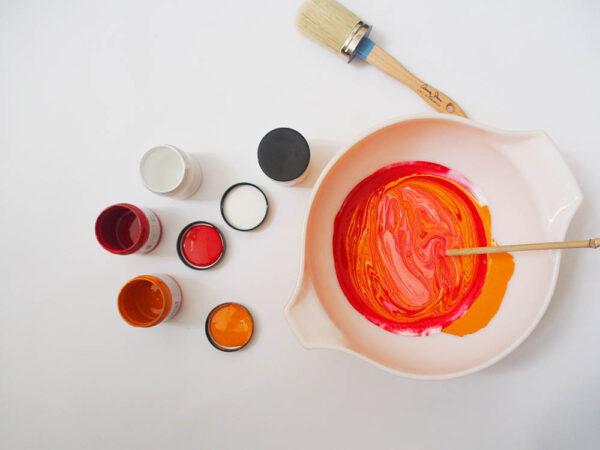 mix paint halfway