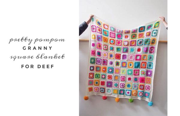 pompom granny blanket by pip