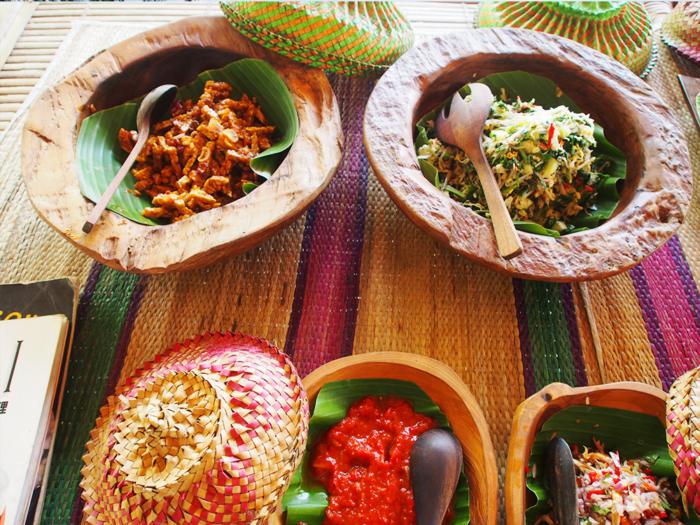temeph and salad and sambal