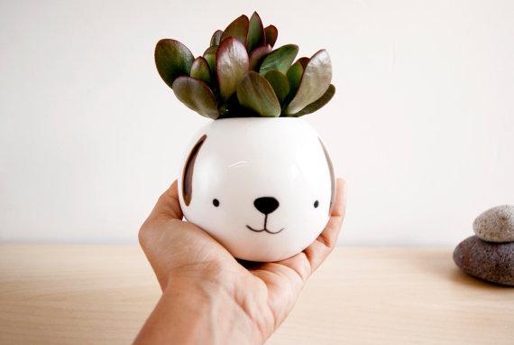 Ceramic dog planter by NOEMARIN