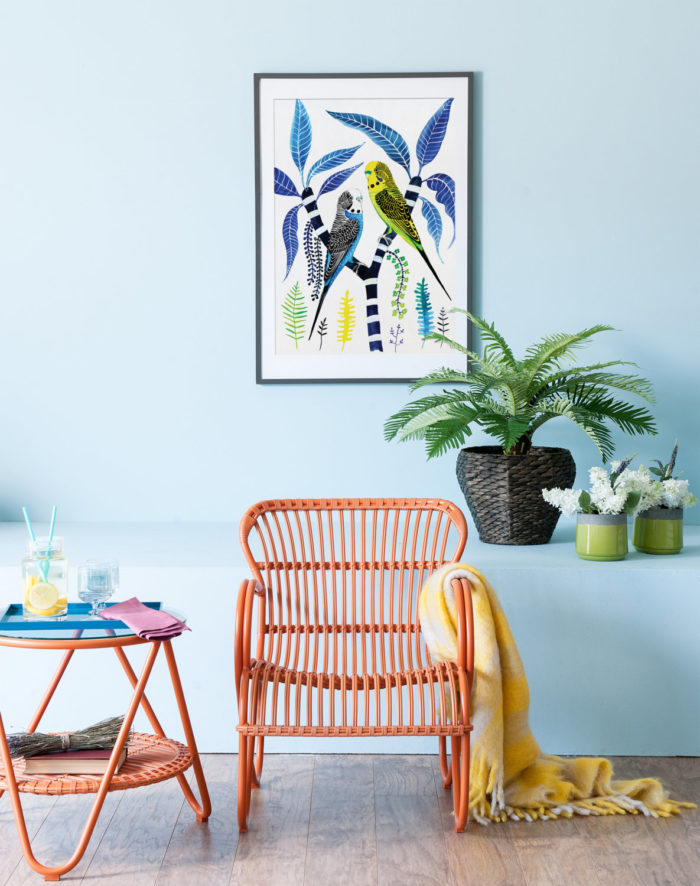 Bright Budgies Print by Floriosa