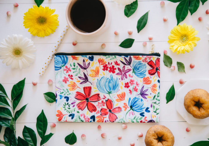 Watercolour Flower Zip Purse by Ruby and Pearl Press