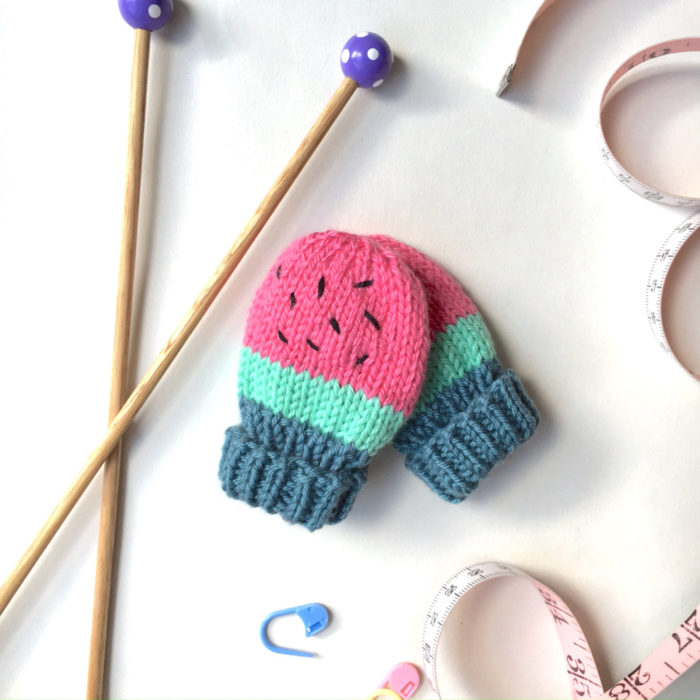 Baby Watermelon Mittens Pattern by Lion and the Snail