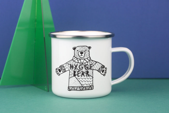Hygge Bear enamel mug