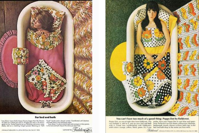 Vintage fabric ads