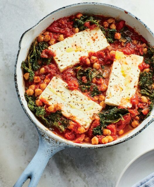 Baked Feta with Chickpeas and Greens