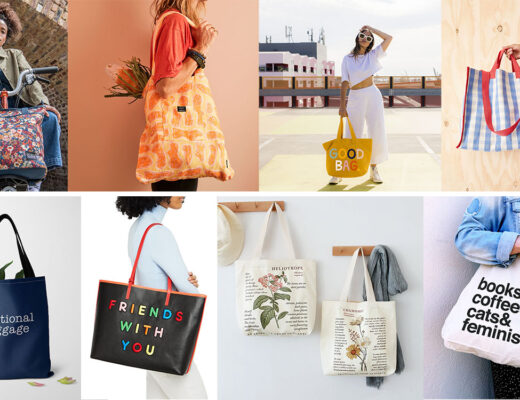 A selection of eight different tote bags