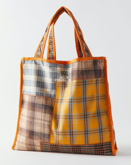Plaid patchwork tote bag in orange, brown and grey-blue