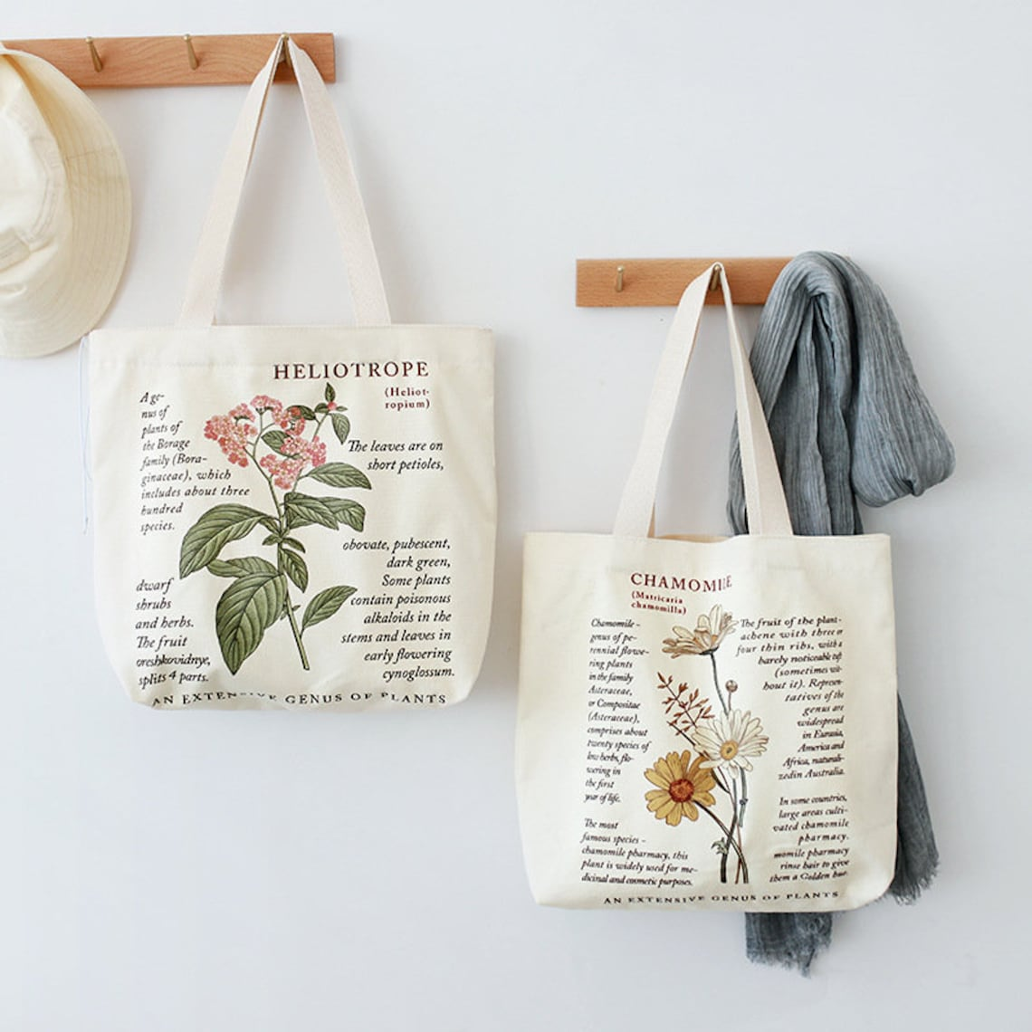 Canvas tote bags with botanical illustration and text.