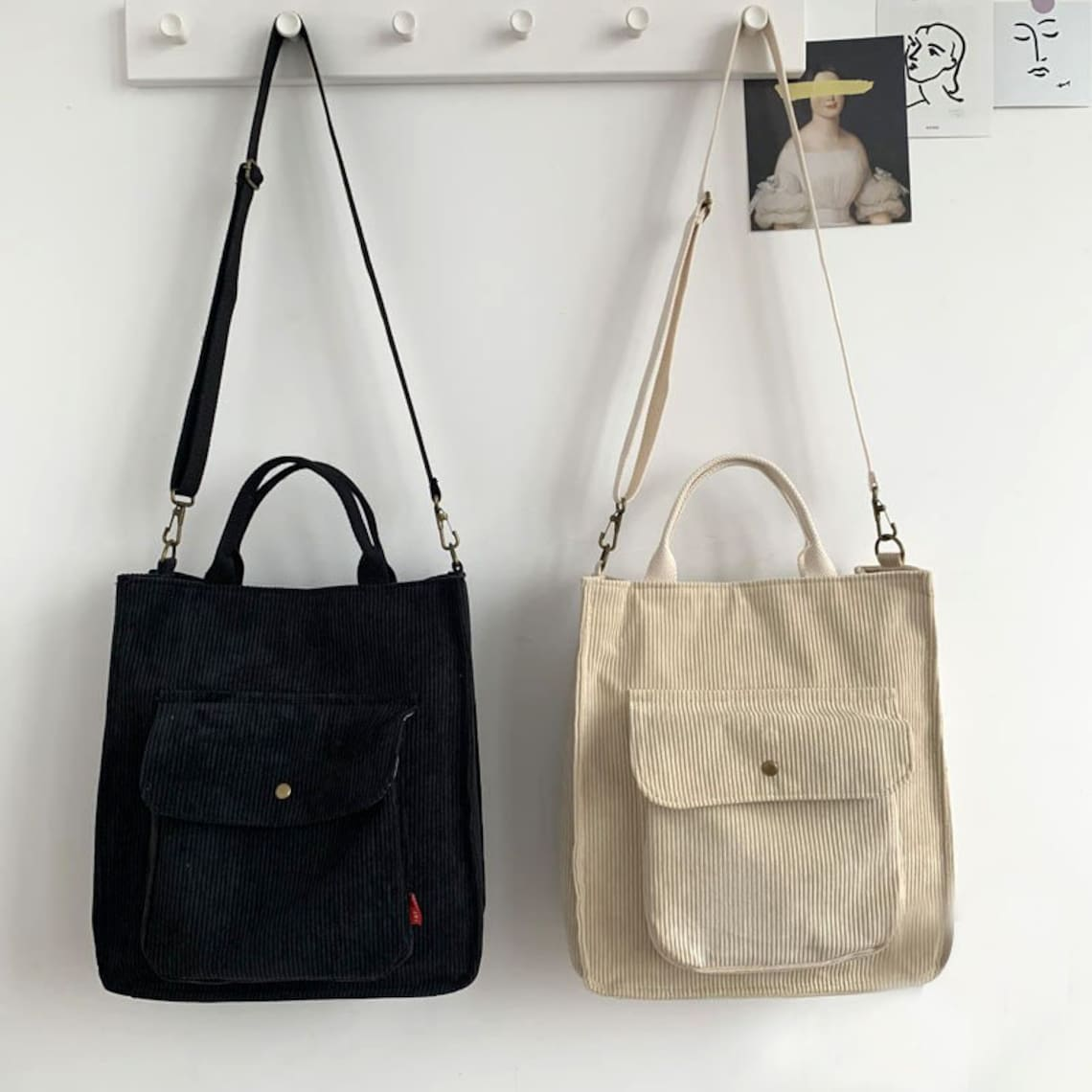 Two tote bags, one black and one cream made in jumbo cord fabric
