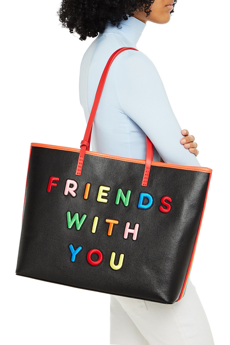 Tote bag embroidered with the words Friends With You in colourful block letters
