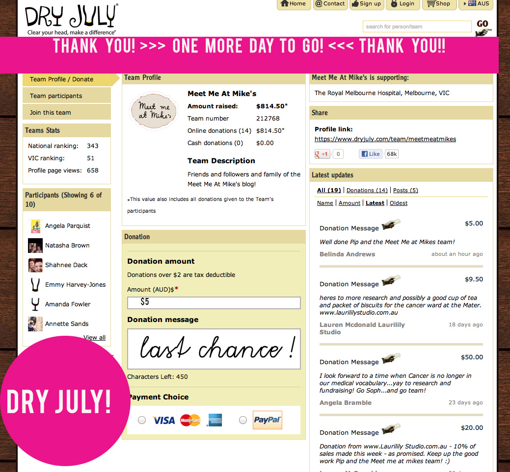 01ee83037b4 Dry July! Last Chance To Donate   Win A PRIZE! OMG! Do it!